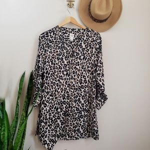 Chicos leopard animal print tunic blouse